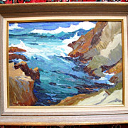 Smugglers Cove Carmel California by Thomas Parkhurst Coastel Scene Oil Painting