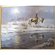Native American Framed Western Indians in a Night SnowScene Scene Oil Painting by Glen S. Hopk