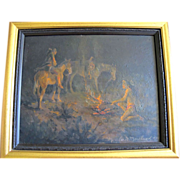 "Native American Framed Night Scene Oil Painting ""Signal Fire"" by Marylee Moreland"