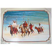 "Acrylic Painting on Paper Framed Native American Art by Gale Running Wolf - ""Hunting Part"