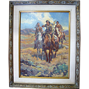 "Native American Framed Western Scene Oil Painting ""Looking for Game"" by Newman Myrah"