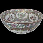 SALE Large Vintage Porcelain Rose Medallion Chinese Fruit Bowl