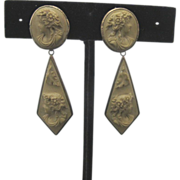 SALE Victorian Lava Stone Cameo Drop Earrings Set in Sterling Silver with 14K Gold Posts