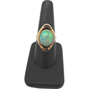 SALE Large Fiery Opal set in 14k Yellow Gold Mod Spherical Ring