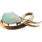 SALE Modernist 18k Yellow Gold Pin Pendant with Large Fiery Opal