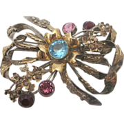 SALE Hobe Sterling Silver Vintage Bow Brooch with Colorful Rhinestones