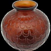 SALE Lalique France Amber Grenade Art Glass Vase c1930
