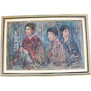 Original Signed EDNA HIBEL Oil Painting of 3 Korean Asian Dancer Women