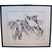 SOLD Reclining Nudes on Beach Vintage Signed George Johanson Original Ink on Paper Framed Art
