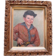Original Oil Painting by Frank Ashford of Portrait of a Child in Western Outfit