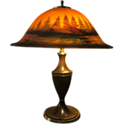 SOLD ORIGINAL Pairpoint Reverse Painted H Fisher Mountain Scene Lamp Shade & Base