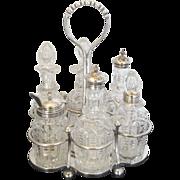 SOLD James Deakin & Sons Silver Plate and Crystal Vintage 7pc Cruet Bottle Set