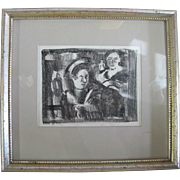 SALE riginal Framed Drawing of 2 Female Figures by OREGON Artist Charles HEANEY