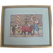 SALE Regency Era English Circus Animals & Clown Original Watercolor Painting
