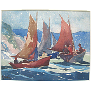 GEORGE PEARSE ENNIS (1884-1936) Signed WATERCOLOR Fisherman Baiters Sailing Painting