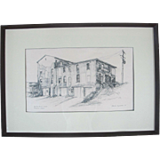 Oregon Artist Charles Reynolds ORIGINAL Sketch Art of Old Territorial Prison