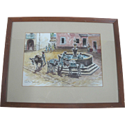Colista Dowling Framed Signed Original Watercolor Ethnic Cityscape Painting
