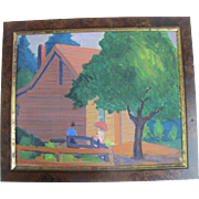 SALE Original Oil Painting by Oregonian Martina Gangle Curl of Couple at Rustic Cabin