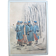 Antique 19th Century WATERCOLOR Painting of French SOLDIERS in WOODS Signed