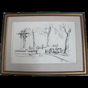 Original Charles Reynolds Pen Sketch Framed Art of Skidmore Fountain Portland OR