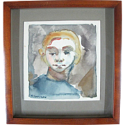SALE Oregon Artist Nelson Sandgren Original Watercolor Portrait Painting of a Boy