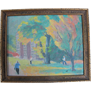 SALE Charles Reynolds Original Oil Painting Autumn on Portland Oregon Campus
