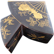 SALE Unique Black Lacquer Wood Asian Fan Shaped Miniature Box with Gold Intricate Detail