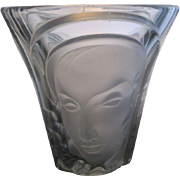 SALE Molded Art Deco Glass Three Faces Vase by Walther & Sohne Germany c1934