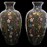 Japanese set of 2 Meiji Era Cloisonne Floral Painted Vase