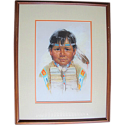 Arlene Hooker Fay (1937-2001) Pastel on Paper Portrait of Native American Boy with Feather