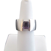 SALE Modernist Ring in 14k White Gold and Amethyst