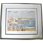 "Signed Salvador DALI Limited Edition ""Cadaques"" Beach Scene Color Lithograph"