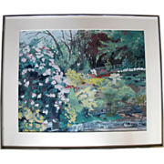 SALE Original Framed Impressionist Rhododendron Gardens Painting by Sidonie Caron