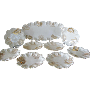 Limoges France 9pc Fish Platter & Plate Set with Hand Painted Gold Leaves Pattern c1890's