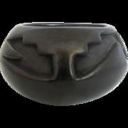 Southwestern Native American Santa Clara Blackware Pottery Vase by Francis Salazar