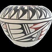Native American Santa Clara Black & White Pottery Vase Signed Tafoya Jemez