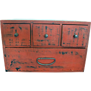 Antique Japanese Red Lacquer Miniature Tansu Box with 4 Drawers Chest