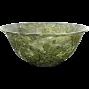 Stunning Antique Green Jade Bowl