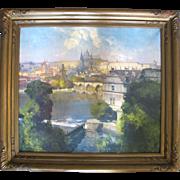 Fine Original Oil Painting by Jaroslav Setelik of a Breathtaking View of Hradcany Prague
