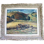 SALE ORIGINAL Fine Landscape Oil Painting by Artist Andre Provot of French Riviera Harvest