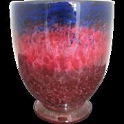 SALE Large Cluthra Vibrant Purple and Fuchsia Art Glass Vase