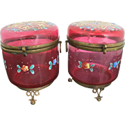 Ruby Glass Hinged Casket 2pc Set with Hand Painted Enamel Flowers