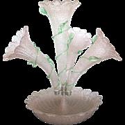 SOLD Vintage Italian Overshot Art Glass Epergne Pink Trumpet Vase Centerpiece