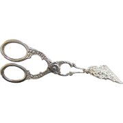 Antique c1900 Dutch 800 Sterling Silver Finely Detailed Cherub Pastry Tongs