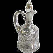 Antique Art Nouveau Sterling Silver Overlay Glass Jug Claret Pitcher