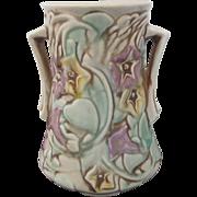 Vintage 30's ROSEVILLE Bold Pastel MORNING Glory 2 Handled Flower Vase