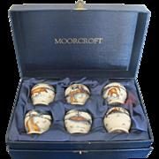 MOORCROFT Woodside Farm Fox Egg Cup Set in Case Signed Anji Davenport 1999