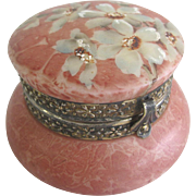 Antique Rose Glass KELVA CF Monroe Wave Crest Enameled Powder Trinket Vanity Box
