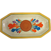 Bright Deco Hand Painted Crocus Flower Clarice Cliff Bizarre Oblong Dish Tray