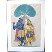 19th Century Kalighat Framed Watercolor Painting KRISHNA & BALARAM c1870-1900